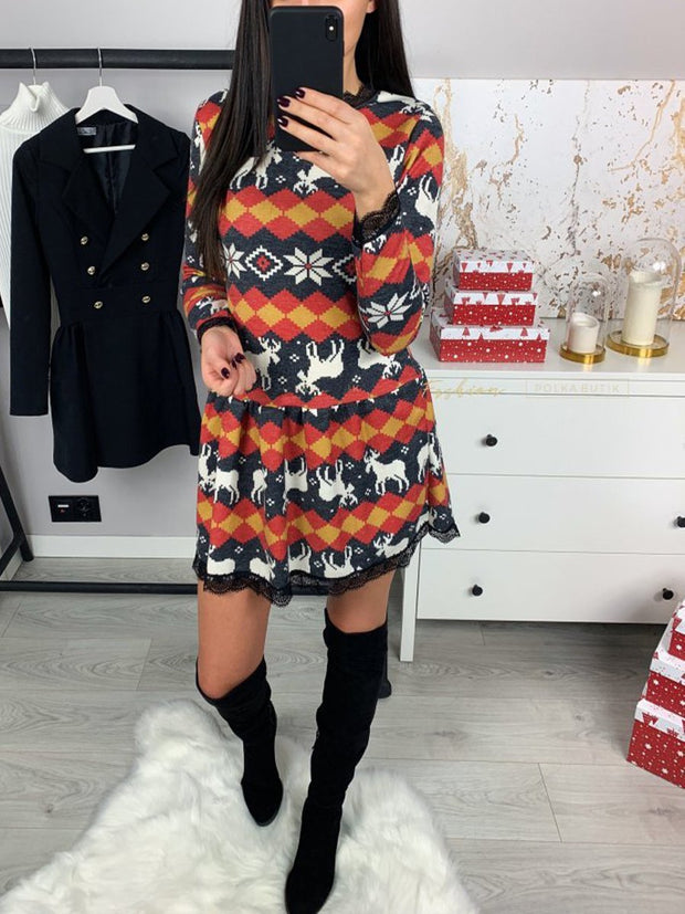 Christmas Elk Square Snowflake Lace Casual Dress