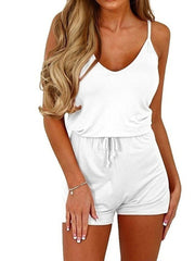 Sleeveless Lace-up Rompers