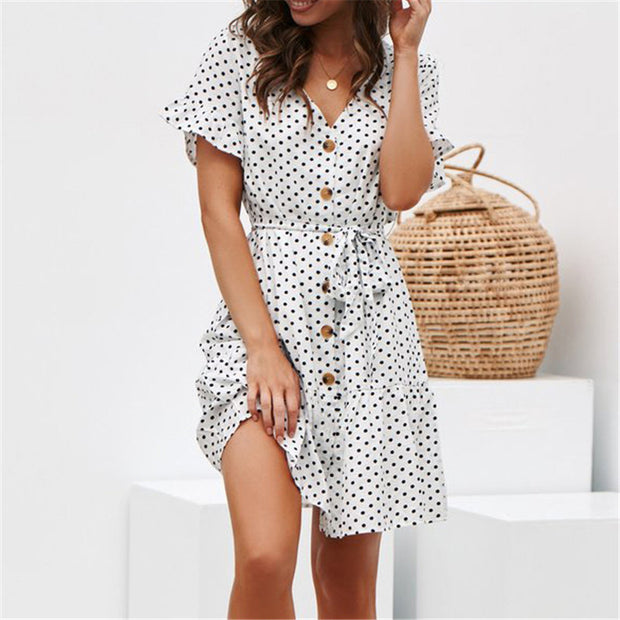 Polka-dot printed V-neck button lace-up chiffon dress