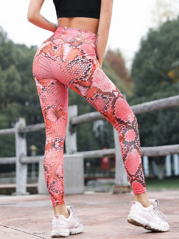 Neon Snakeskin Print Yoga Sports Leggings