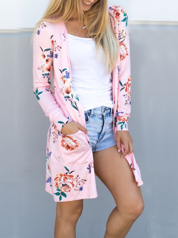 Long Sleeve Printing Floral Cardigan