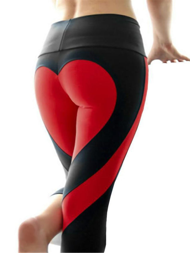 Heart Pattern Color Block Yoga Pants Leggings