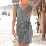 Sexy Belted V-neck Ruffle Sleeve Beach Dress