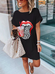 Round Neck Lips Casual Dresses