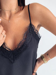 Lace Splicing Solid Color Camisole