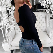 Sexy Single Breasted Low Cut Round Solid Color Long Sleeve T-shirt