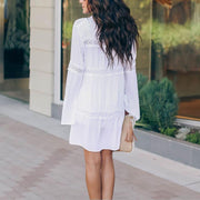Lace Loose Long Sleeve Holiday Cover-up Cardigan Shift Dress