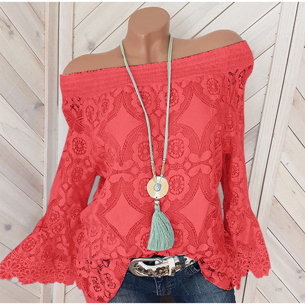 Lace Slit Neck Shoulder Top