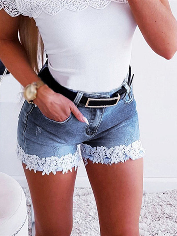 Lace Splicing Denim Shorts