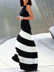 Elegant Slimming Color Block Striped Maxi Dress