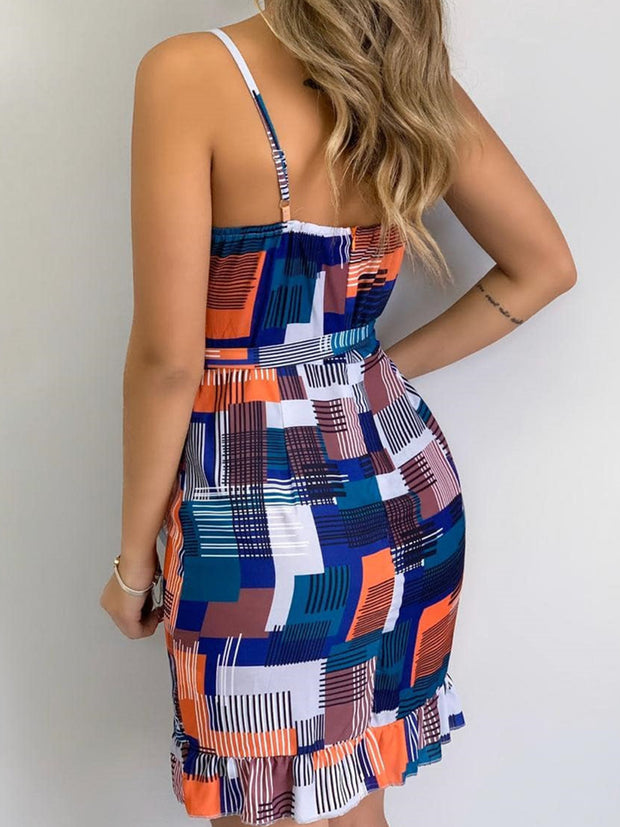 V-neck Sling Colorblock Mini Dress