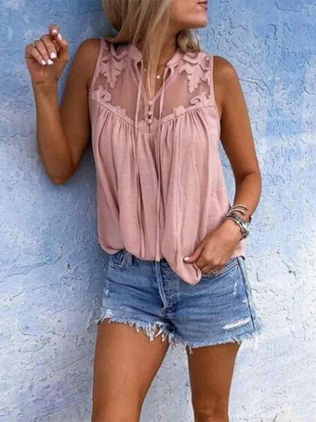 V-Neck Lace Insert Looe Fit Tank Top