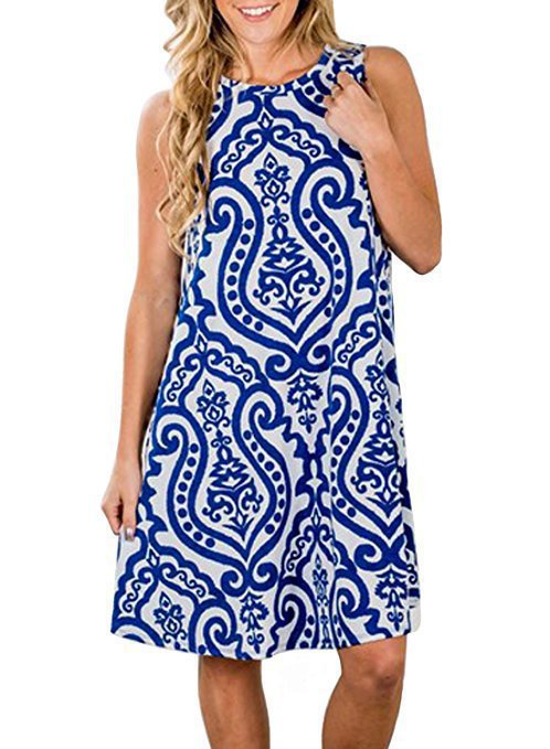 Vintage Paisley Pattern Sleeveless Mini Dress