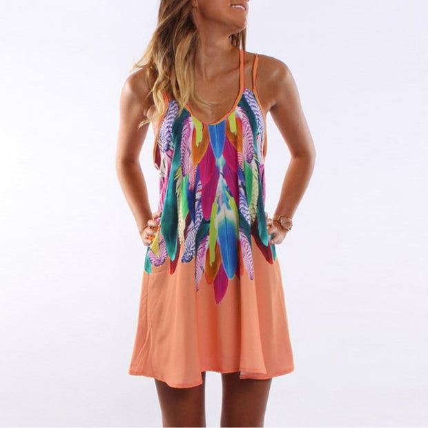Round Neck Colorful Feather Printed Shift Dress
