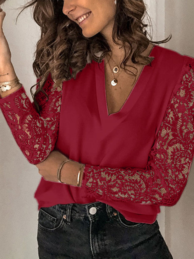 V-Neck Lace Splicing Shirt