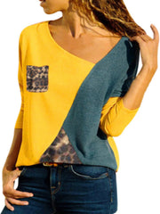 Splicing Colours Round Neck Long Sleeves T-shirt