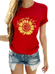 Round Neck  Short Sleeves Printed T-shirt