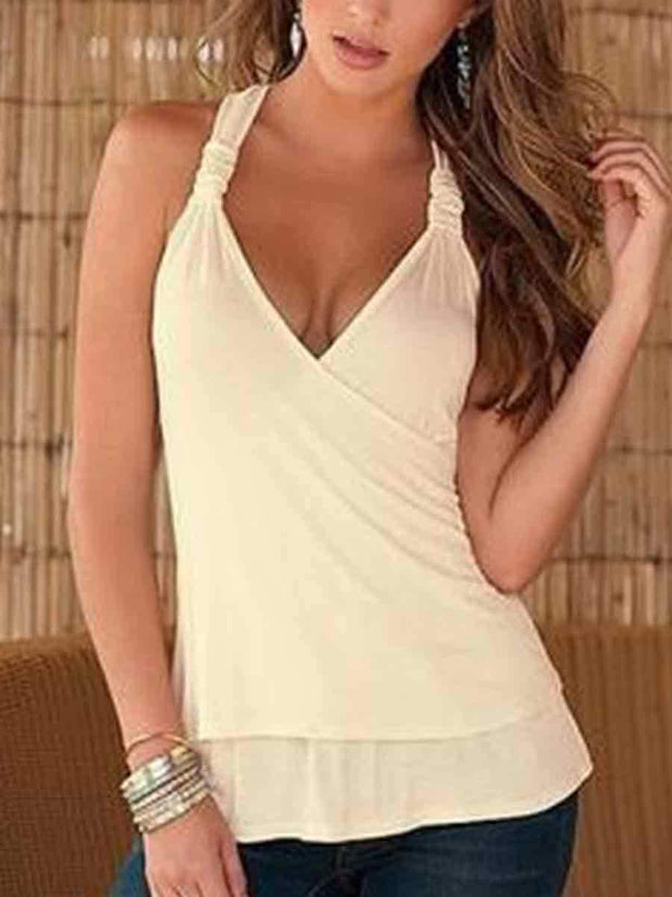 Lace Splicing V-Neck Solid Color Tank Top
