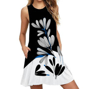 Pocket Print Sleeveless Dress