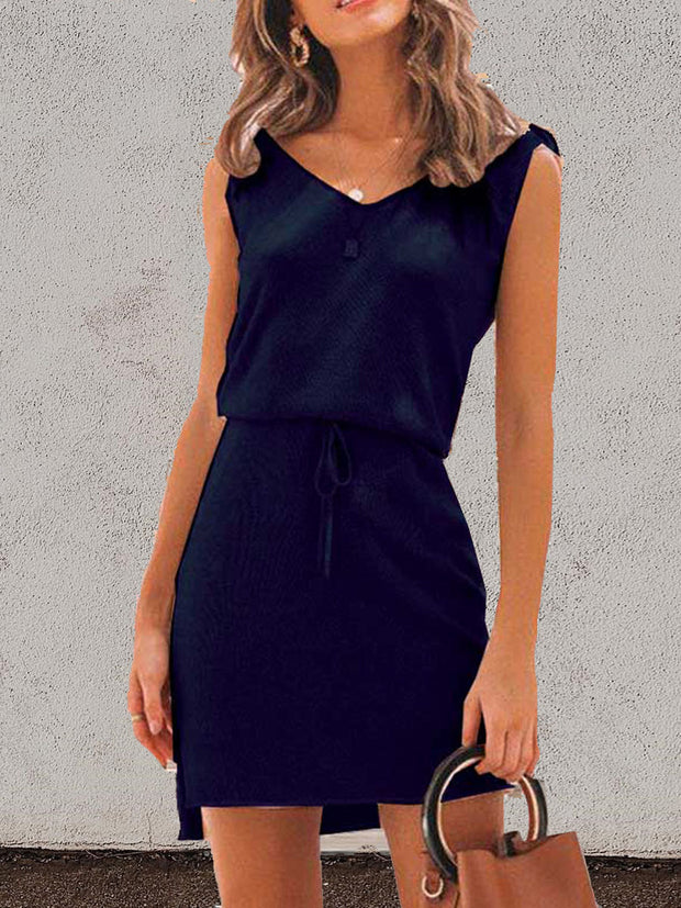 V-Neck Sleeveless Lace-up Dress