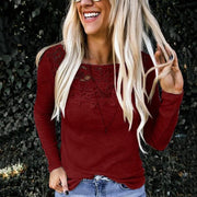 Fashion lace stiching hollow long sleeves fitted t-shirt