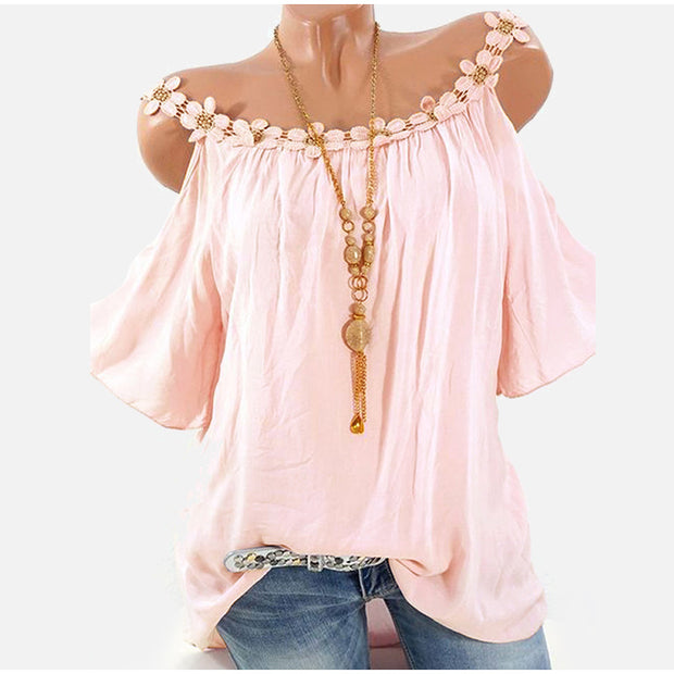 Off-the-shoulder lace rhinestone t-shirt