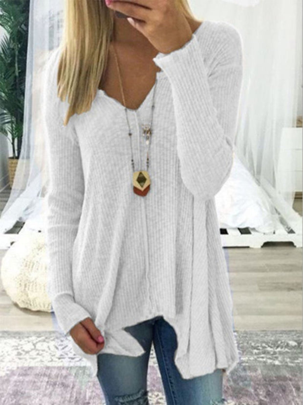 Sexy Solid Color V-neck Irregular Sweater