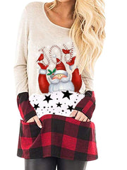 Patch Contrast Christmas Elk T-shirt