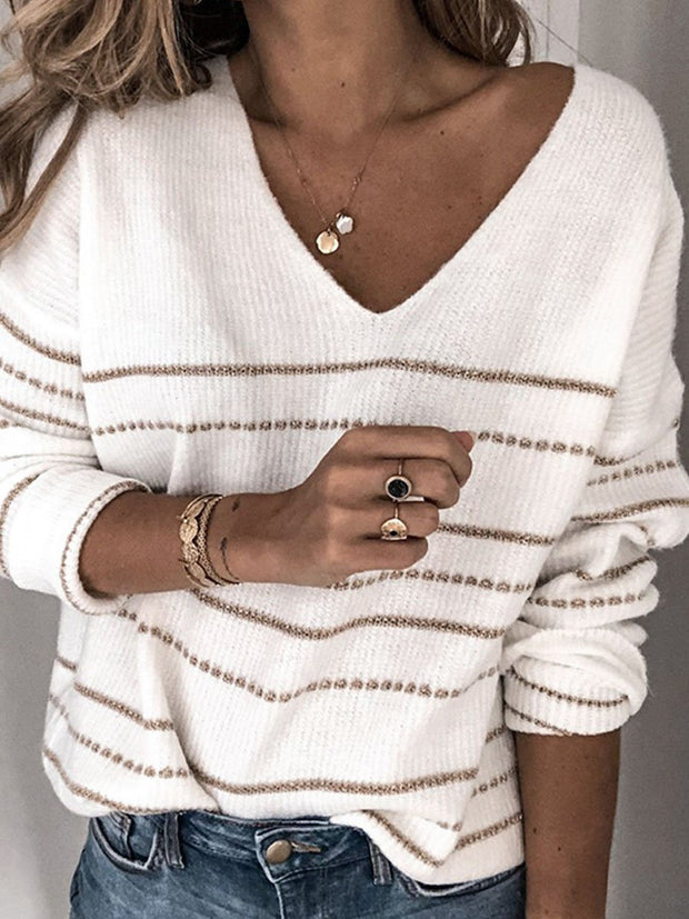 Solid Knitwear Casual Stripe V-Neck Sweater