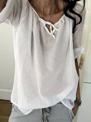 Tie Neck Cozy Solid Color T-shirt