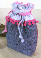 Two tone tweed bag - the purple side