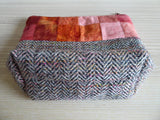 Batik Cotton Postage Stamp Patchwork and Tweed Zipped Pouch SOLD OUT