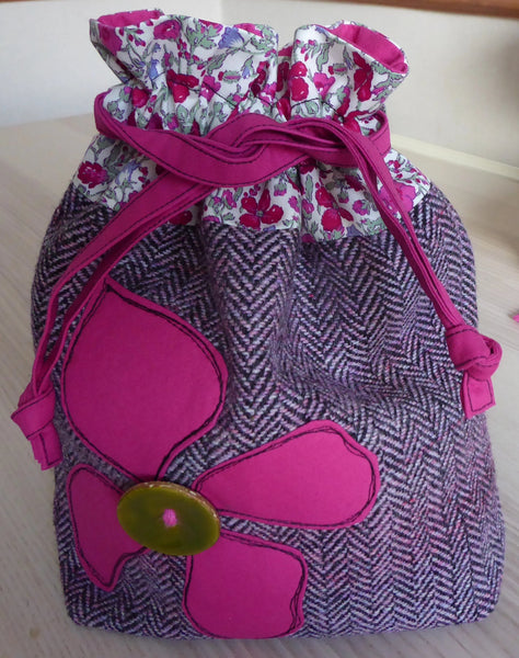Drawstring LIBERTY-TWEED-APPLIQUE Project Bag Knitting,crochet,cosmetics.
