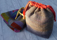 Large Draw Tie Variegated Colour Herringbone Tweed Slouch Bag.