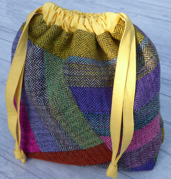 Patchwork Tweed Large Slouch Bag with Draw Tie Closure.