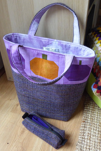 Patchwork Pumpkin and Tweed Large Tote Bag