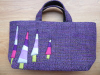 Silver, purple and pink trees appliqued on to Ann`s variegated Tweed Tote Bag