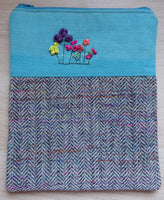 Hand Embroidered Silk Ribbon Flowers and Hand Woven Tweed Case / Pouch