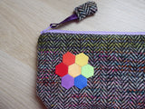 Zipped Pouch with English Paper Piecing Flowers