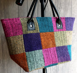 Herringbone tweed tote bag