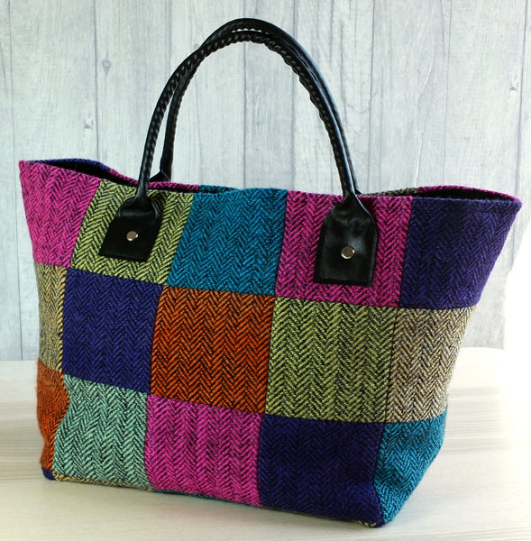 Patchwork tweed tote bag