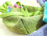 Wattle green draw tie tweed bag