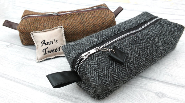 Tweed Toiletry Bag in two colours