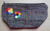 Small Multi Coloured Herringbone Tweed Zip pouch bag