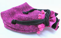 Hot fuschia pink draw tie tweed bag