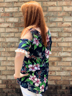 Navy floral cold shoulder tassel top