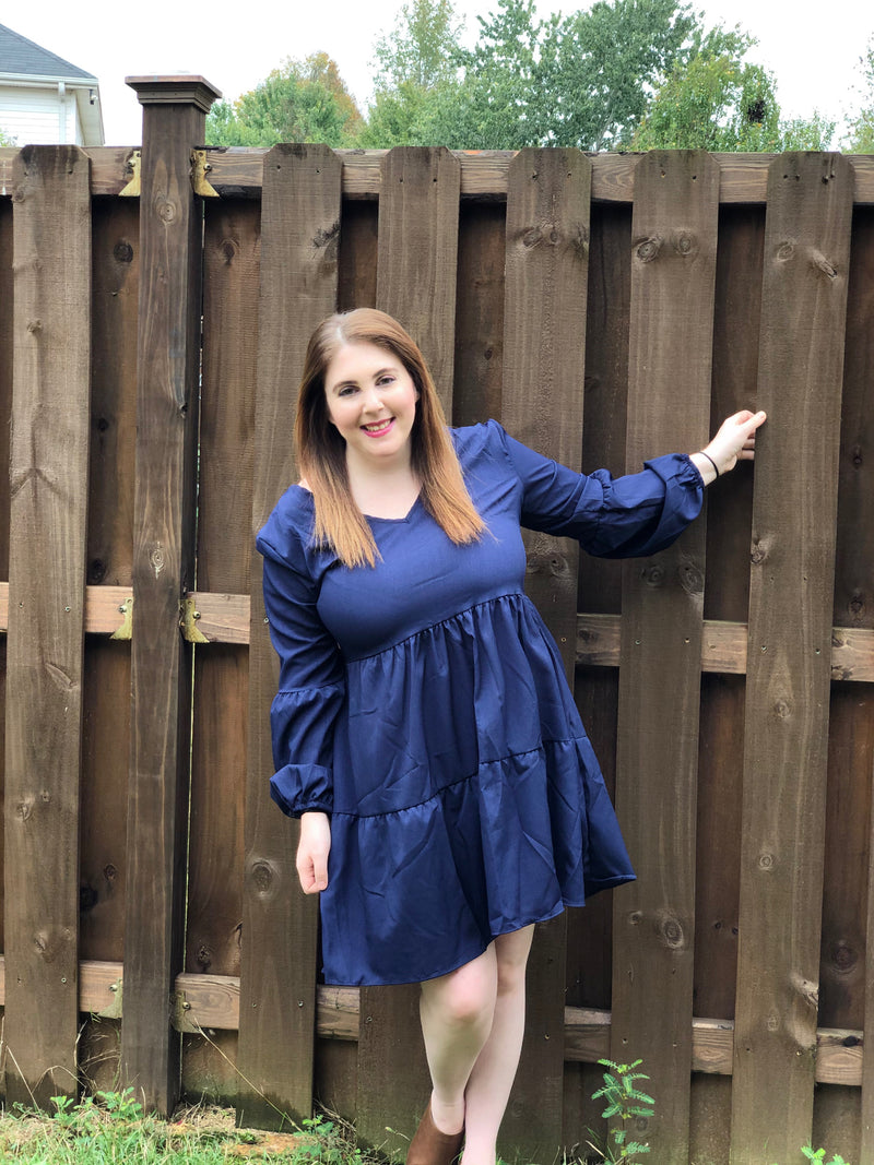 NAVY SWING SHIFT DRESS