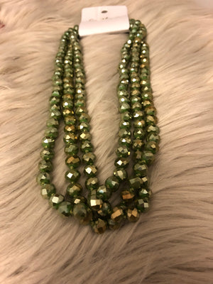 Olive hand knotted beaded necklace. - Emmy Lu & Auggie