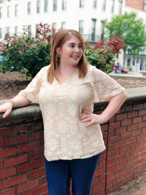 peach lace flower top