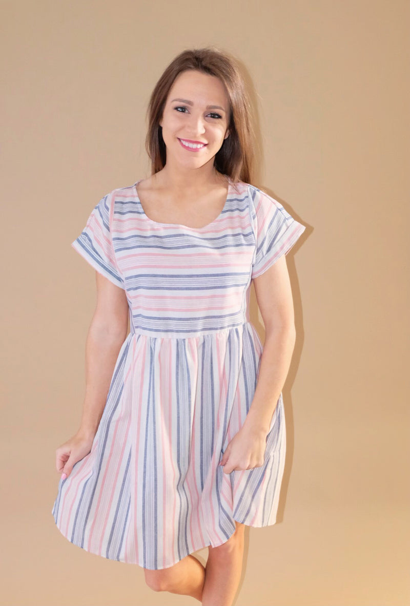 pink and blue striped dress